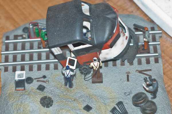 Diorama of a Diesel being scrapped