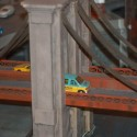 Model of the Brooklyn Bridge with scale cars