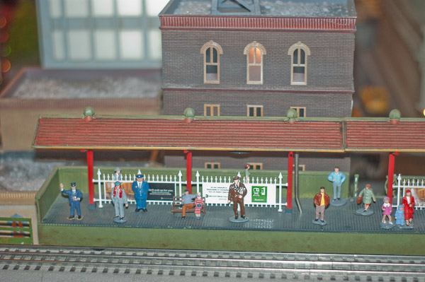 Close Up Railway Station at Lionel Holiday Display