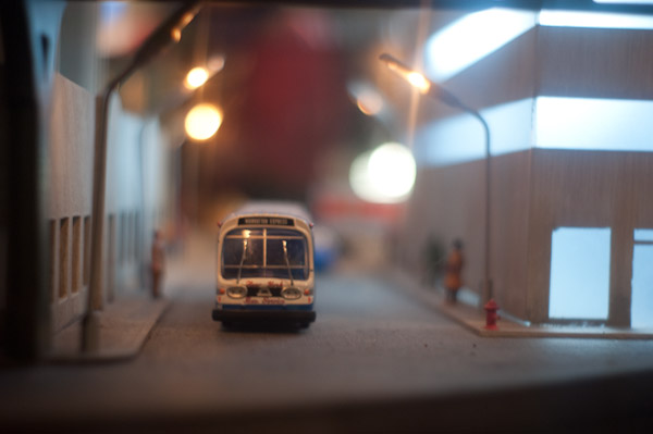 Model bus at the NY Transit Museum Holiday Train Layout