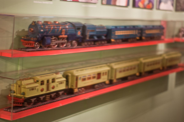 Wall display of two complete pre-war Lionel Trains