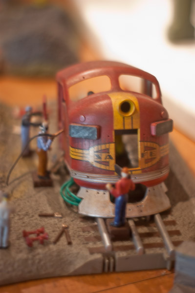 Diorama or a diesel locomotive being dismantled